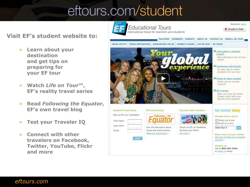 Visit EF's student website to: