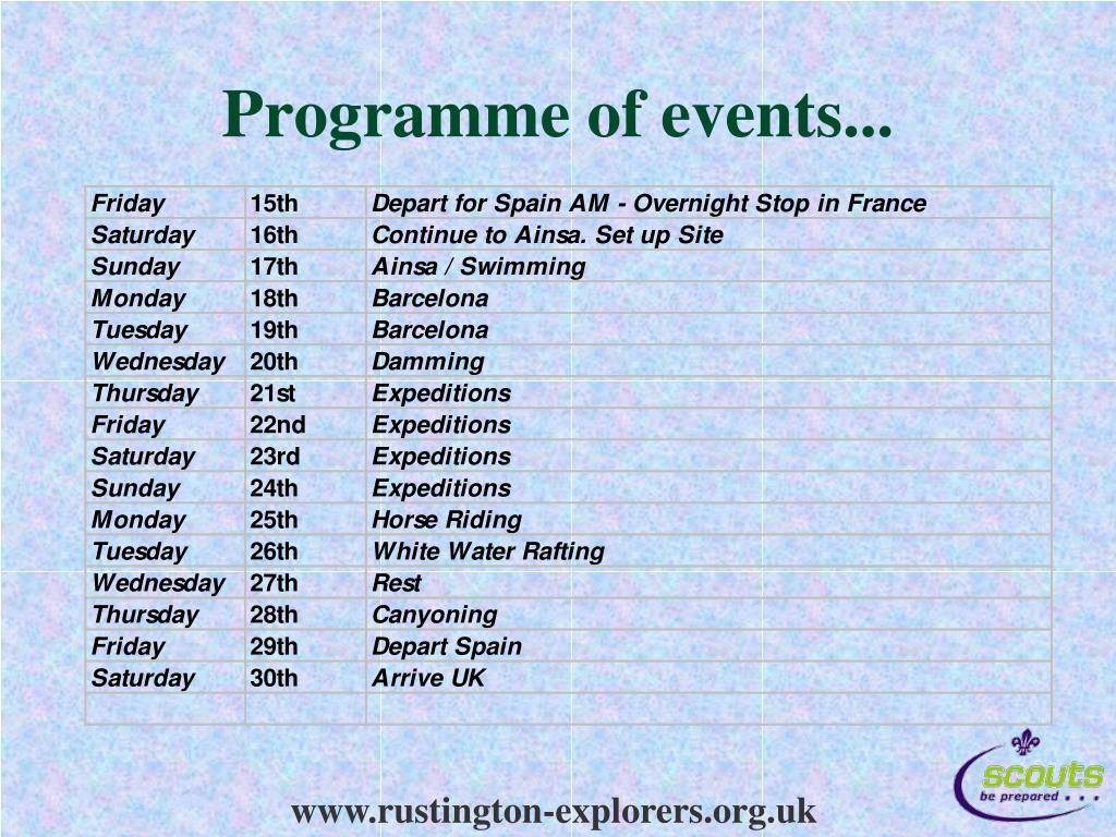 Programme of events...