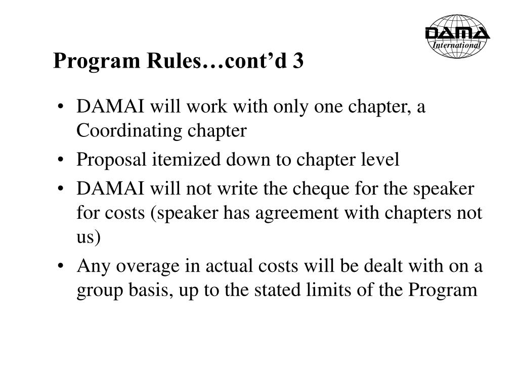 Program Rules…cont'd 3