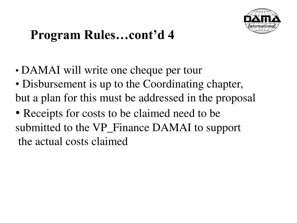 Program Rules…cont'd 4