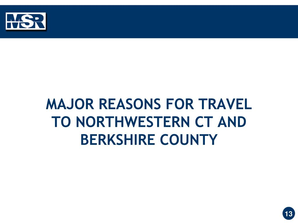 MAJOR REASONS FOR TRAVEL