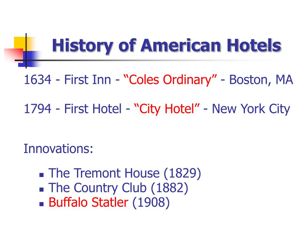 History of American Hotels