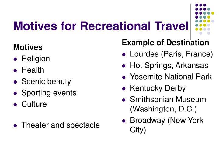 Motives for recreational travel