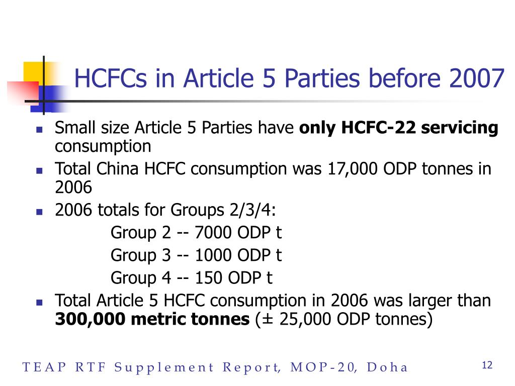 HCFCs in Article 5 Parties before 2007