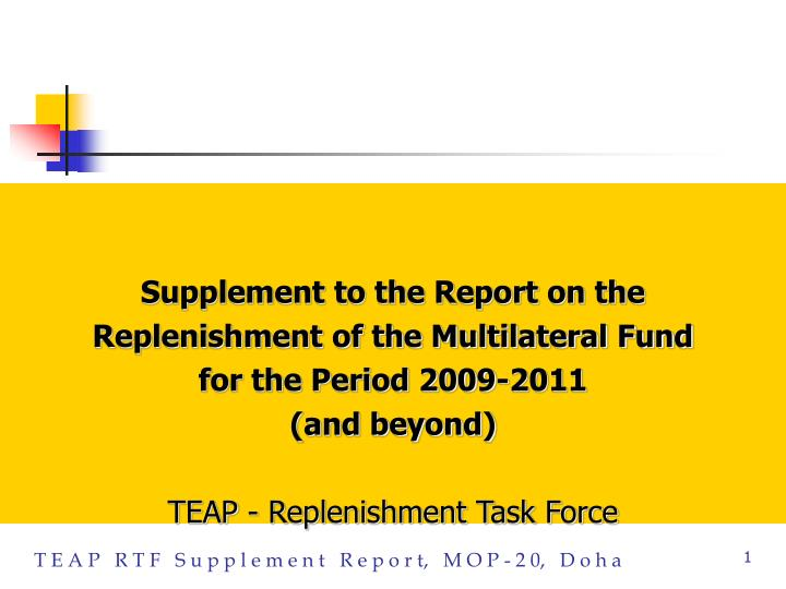 Supplement to the Report on the