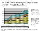 1987 2007 federal spending in all low income assistance by type of assistance