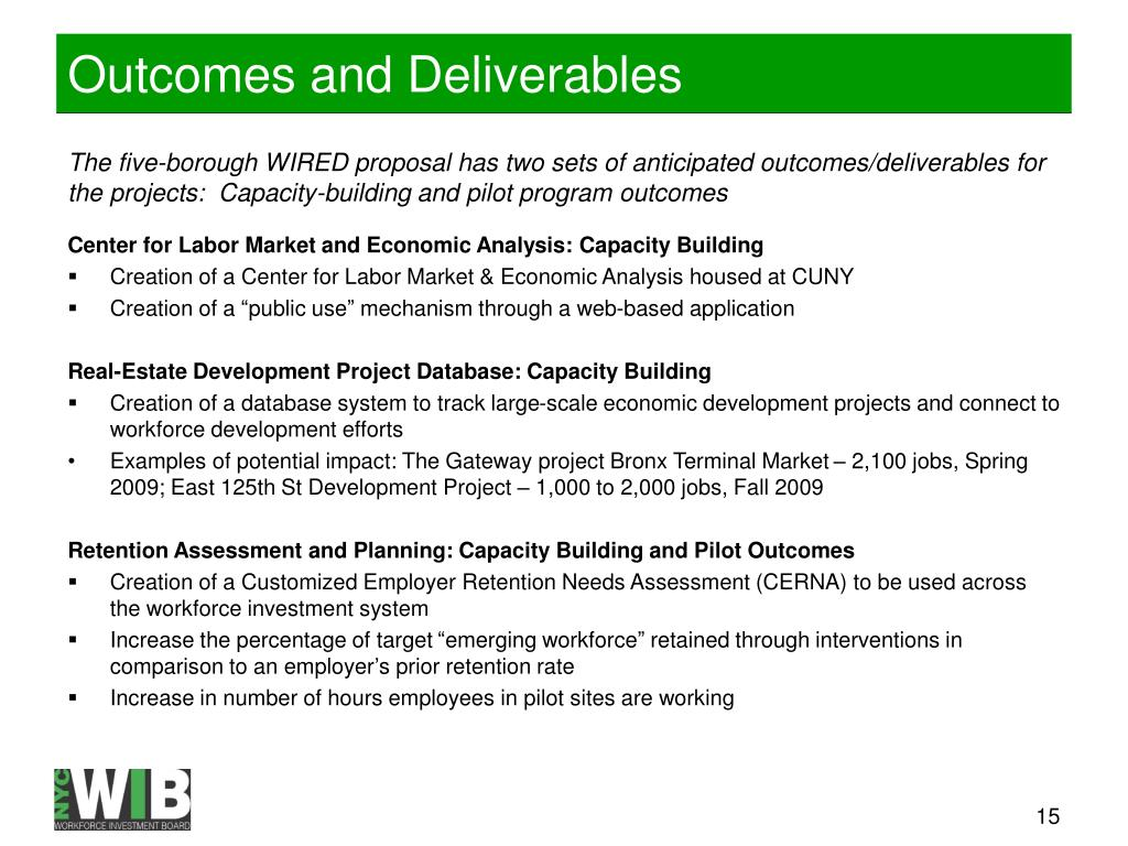 Outcomes and Deliverables