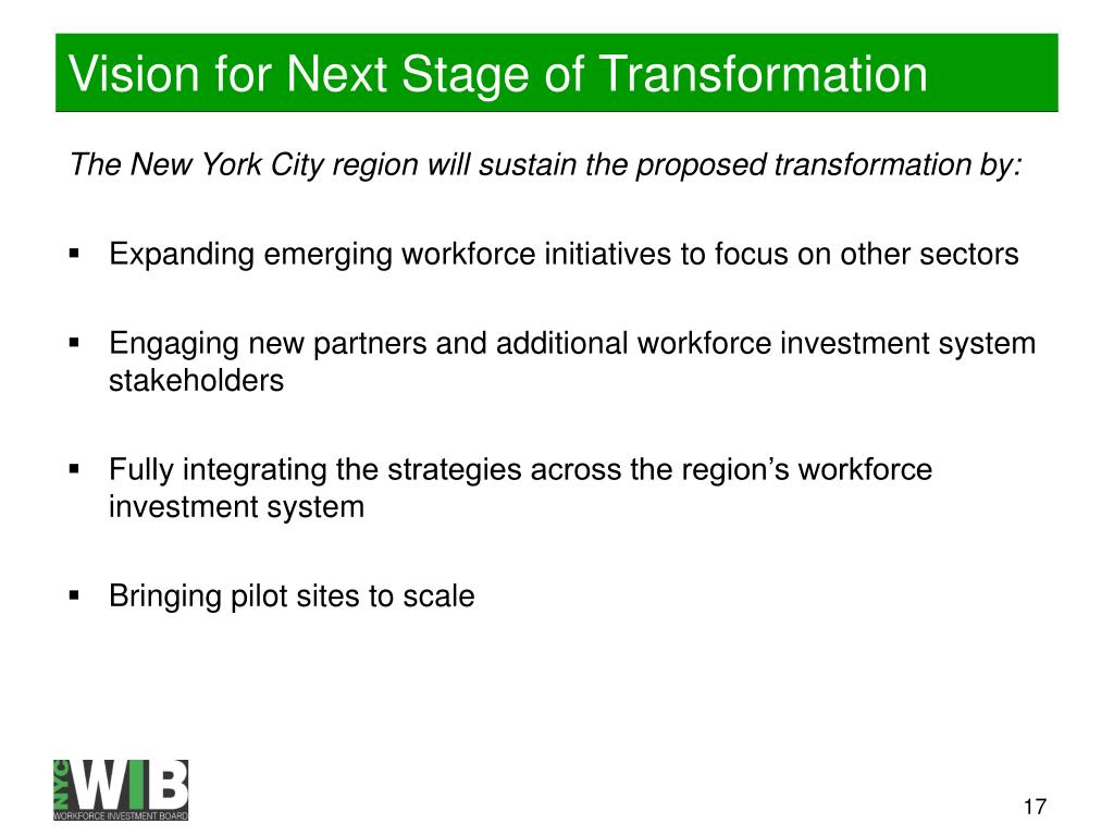 Vision for Next Stage of Transformation