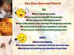 eye care do s and don ts