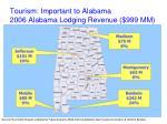 tourism important to alabama 2006 alabama lodging revenue 999 mm
