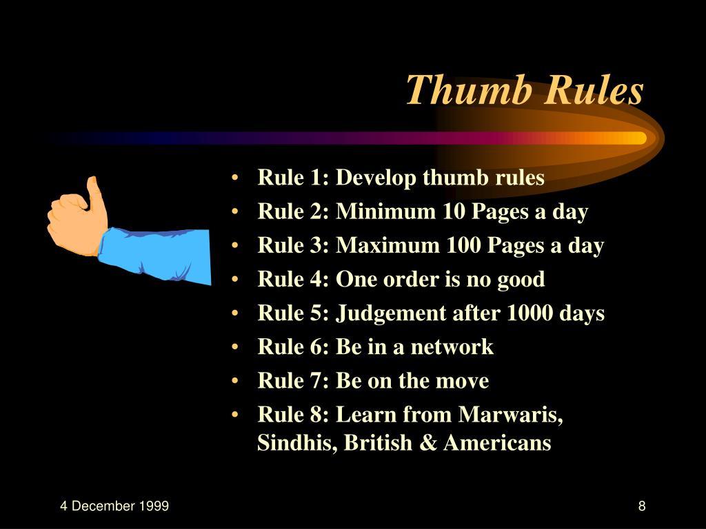 Thumb Rules