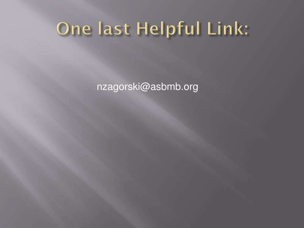 One last Helpful Link: