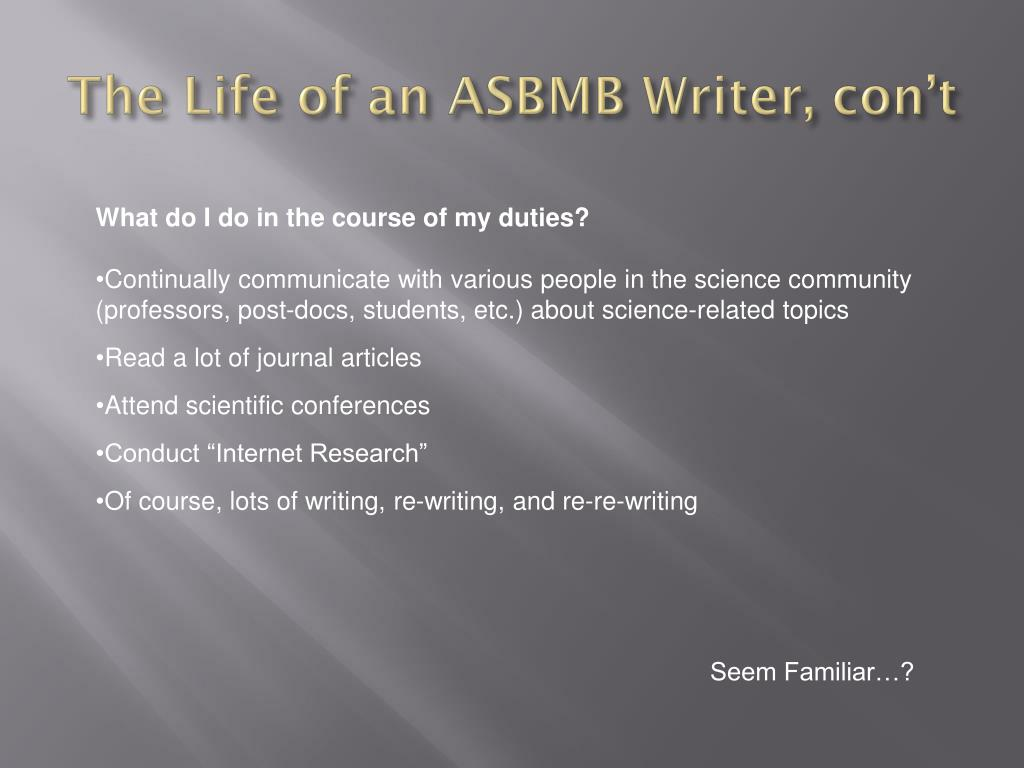 The Life of an ASBMB Writer,