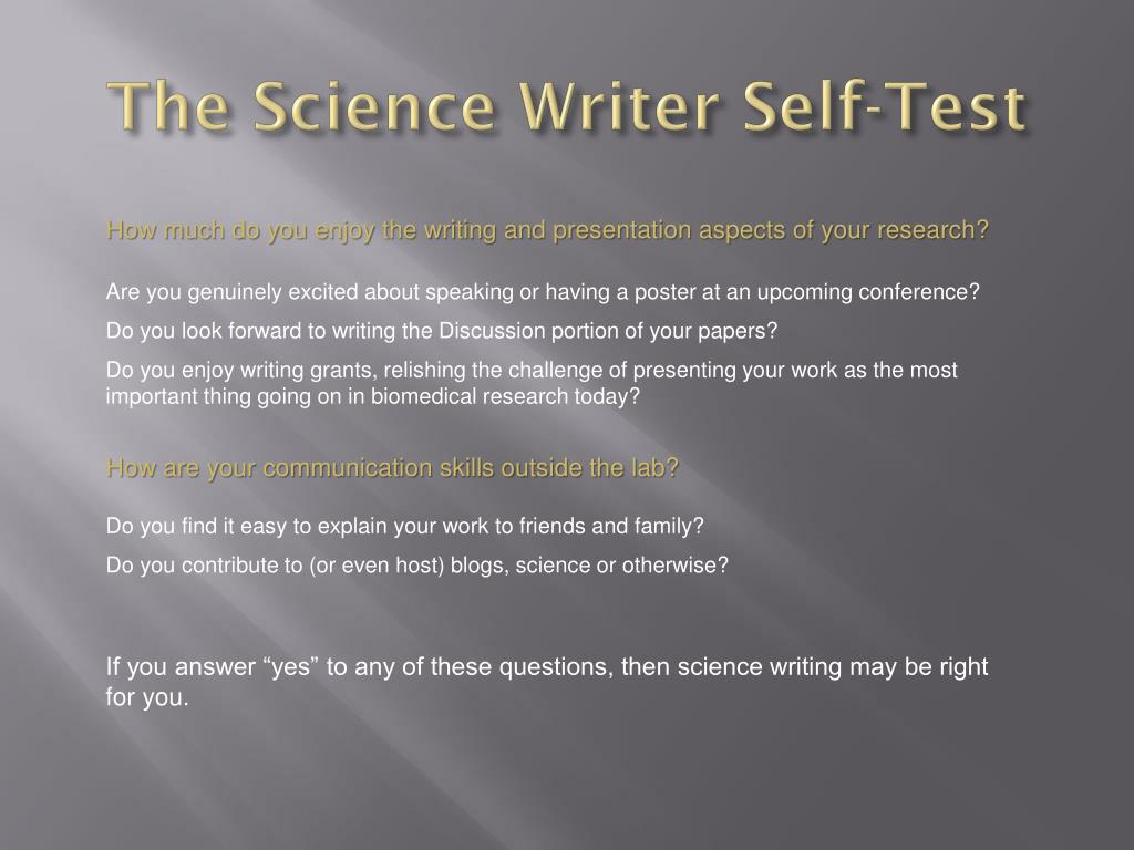 The Science Writer Self-Test