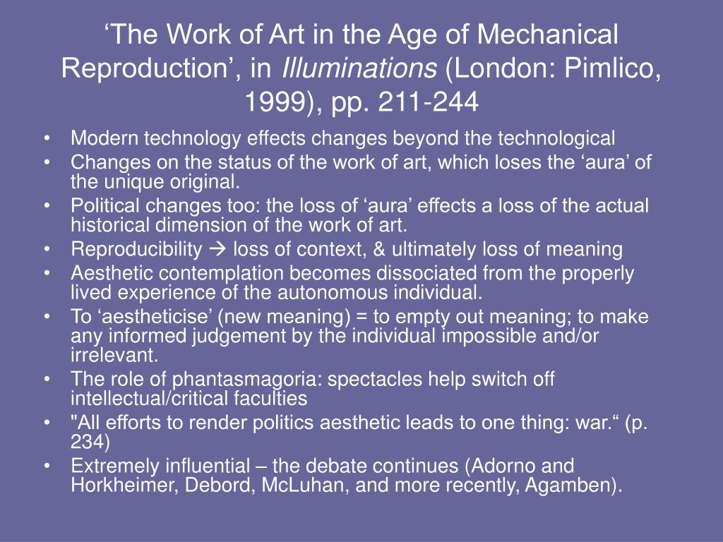 'The Work of Art in the Age of Mechanical Reproduction', in