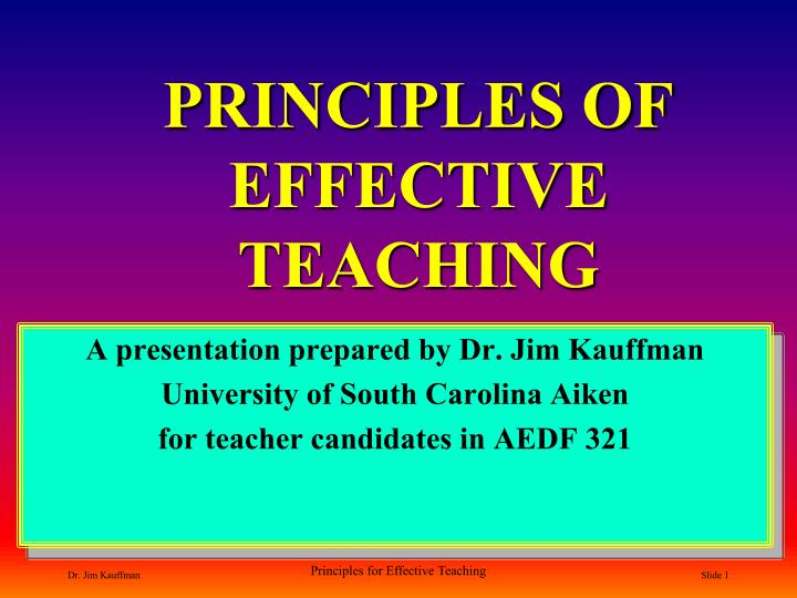 principles of effective teaching n.