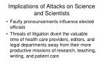 implications of attacks on science and scientists26