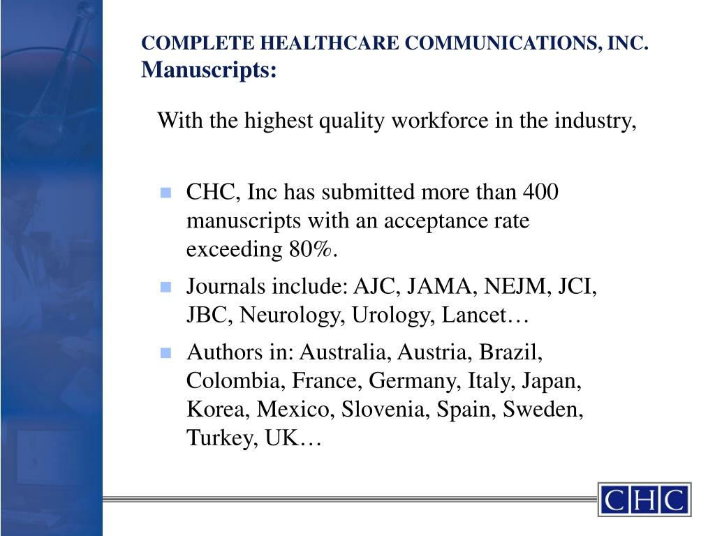 COMPLETE HEALTHCARE COMMUNICATIONS, INC.