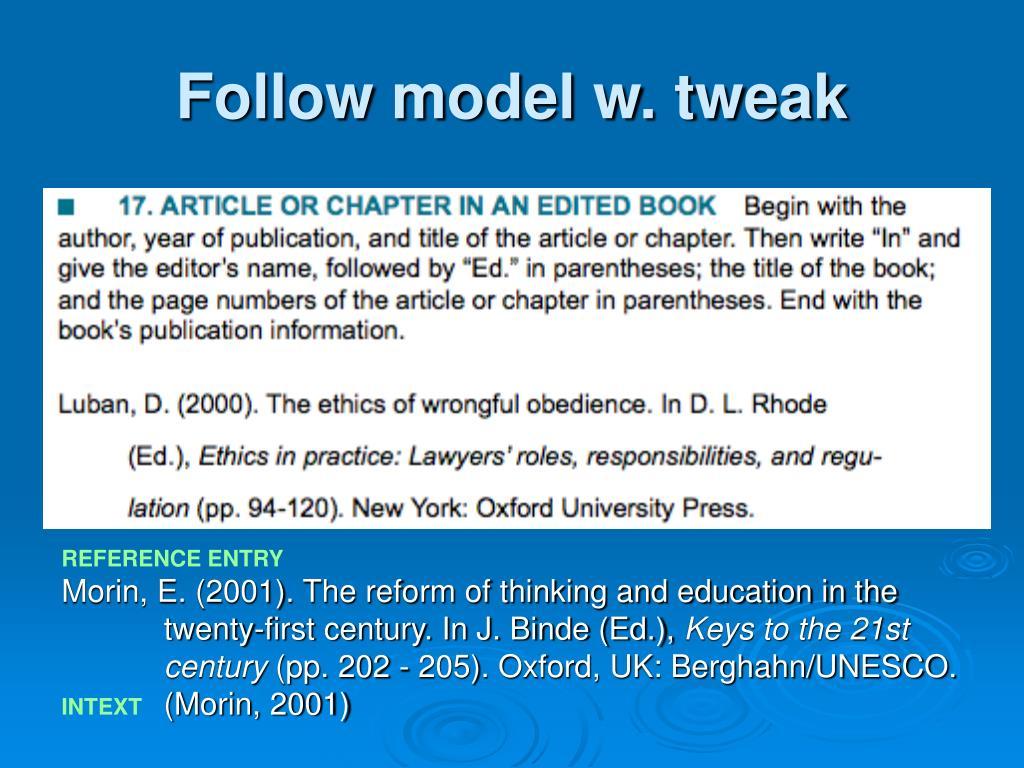 Follow model w. tweak