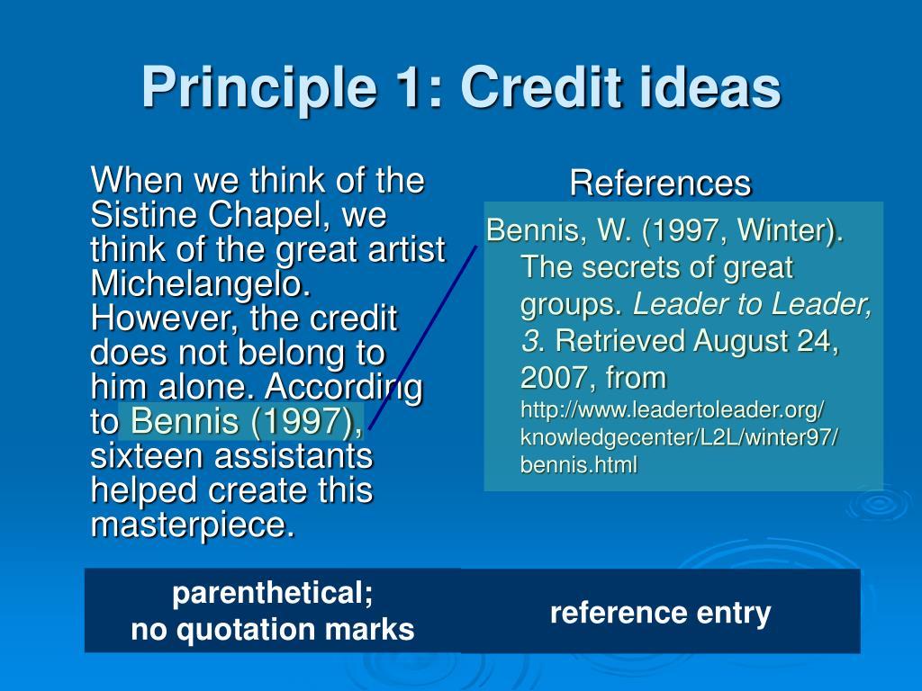 Principle 1: Credit ideas