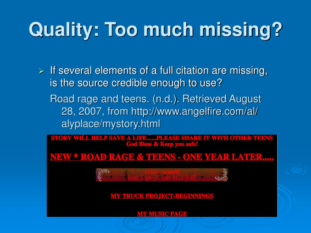 Quality: Too much missing?