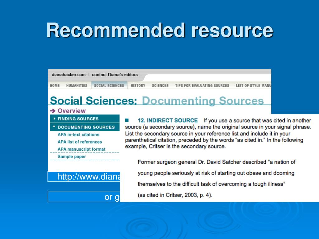 Recommended resource