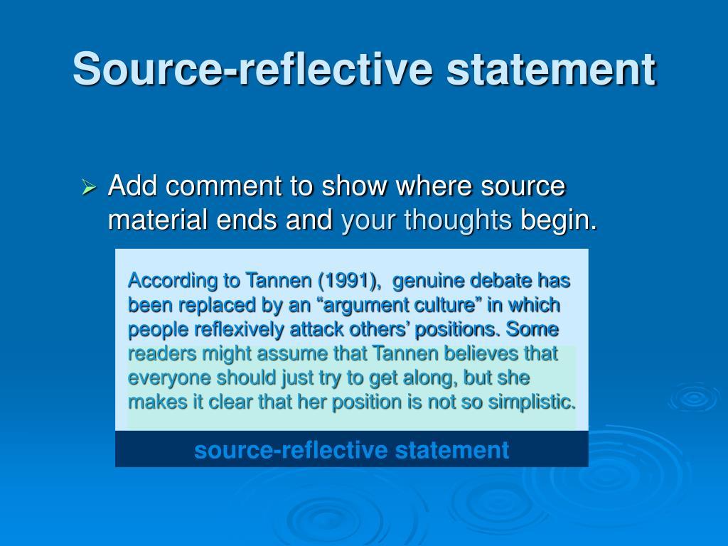 Source-reflective statement