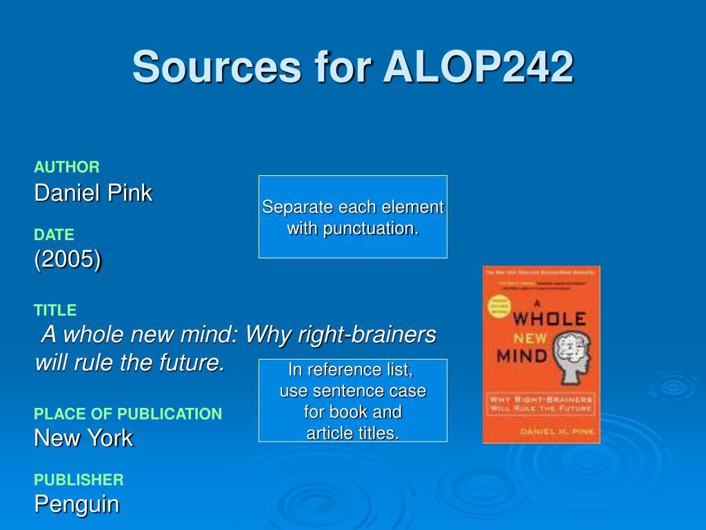 Sources for ALOP242