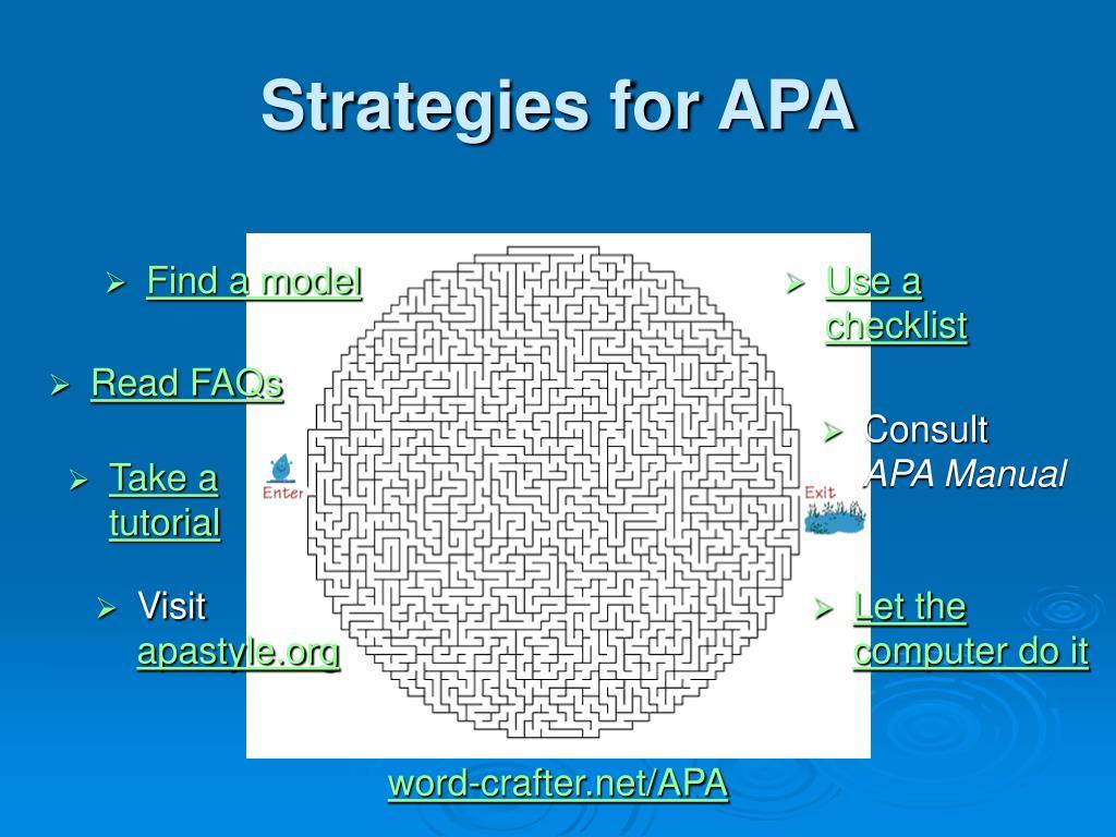Strategies for APA