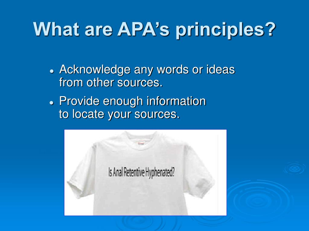 What are APA's principles?