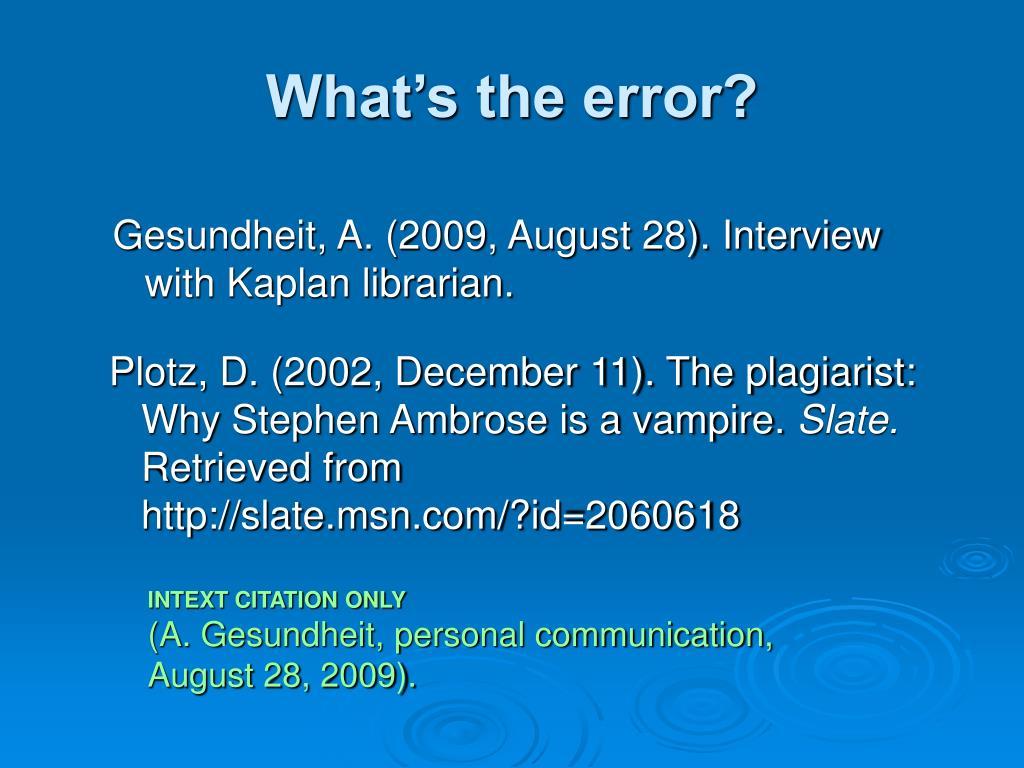 What's the error?
