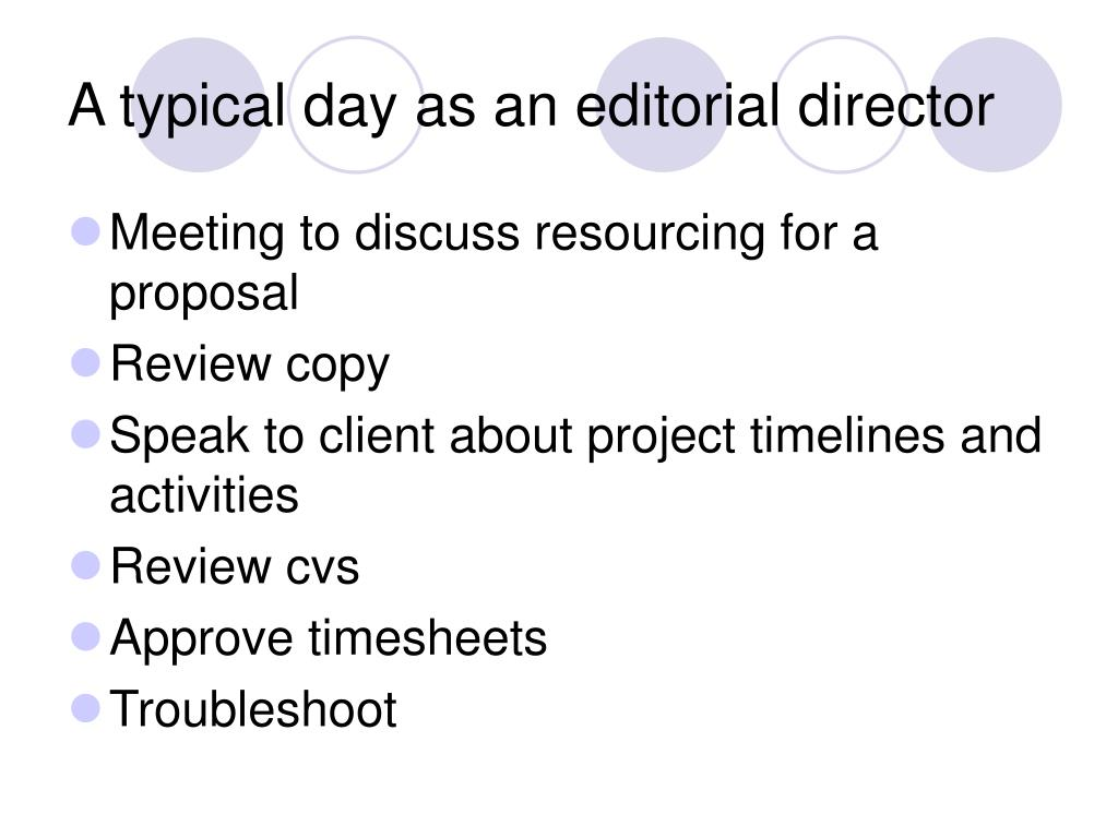 A typical day as an editorial director