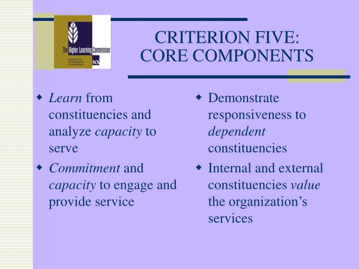 Criterion five core components
