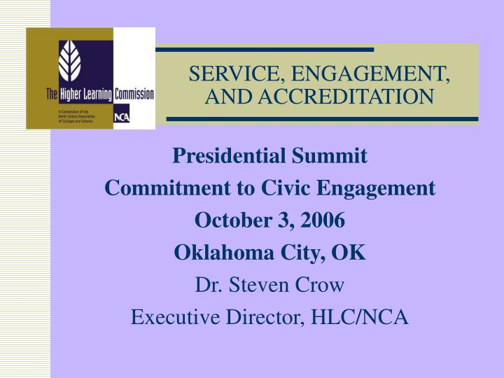 Service engagement and accreditation