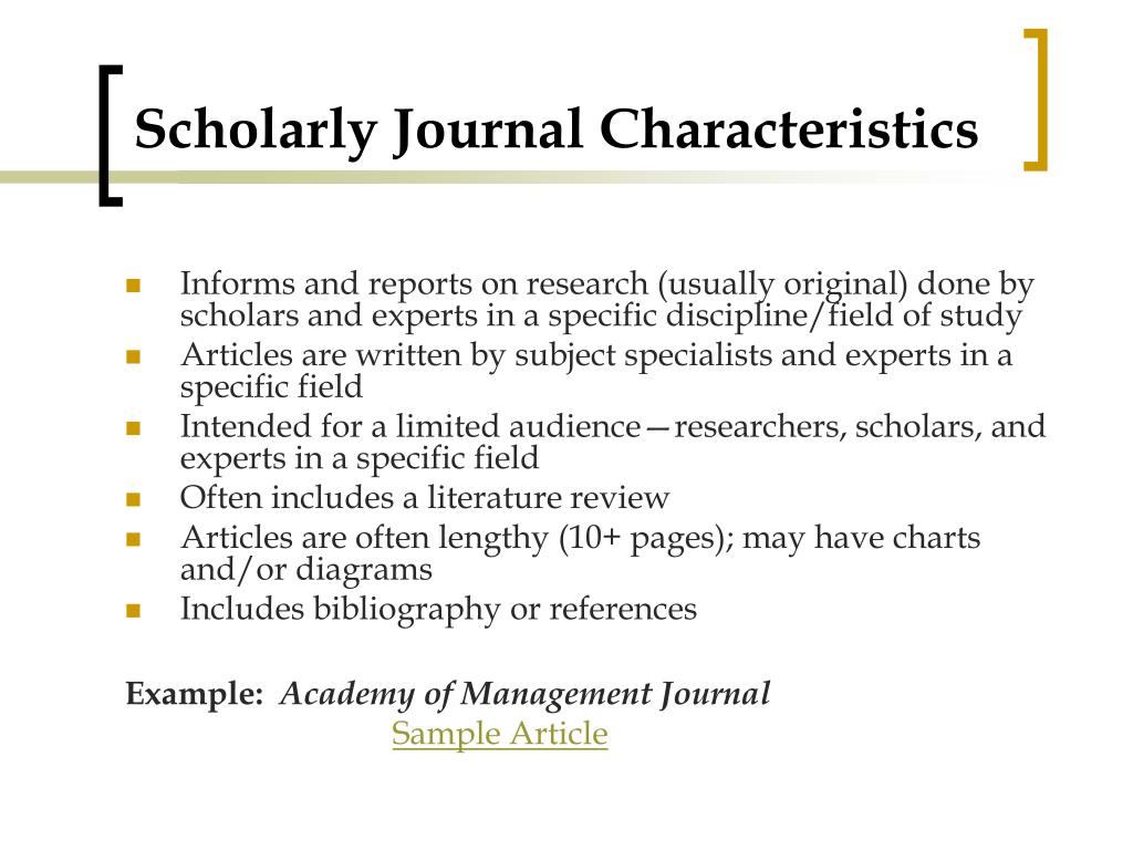 Scholarly Journal Characteristics