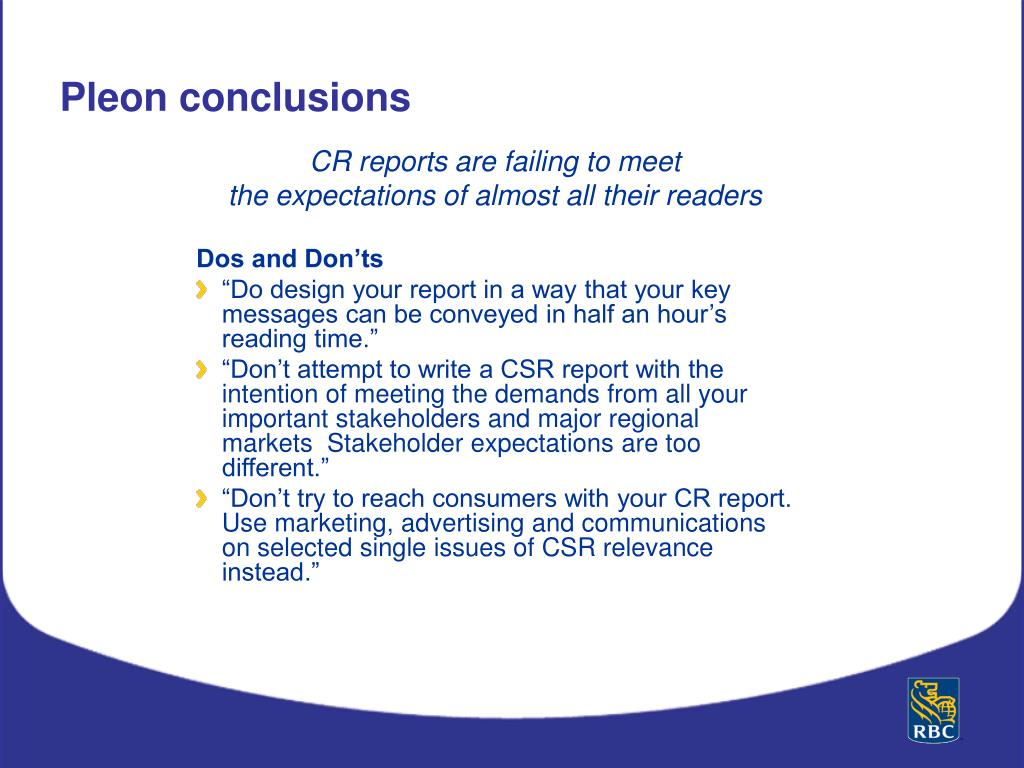 CR reports are failing to meet