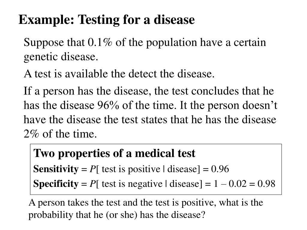 Example: Testing for a disease
