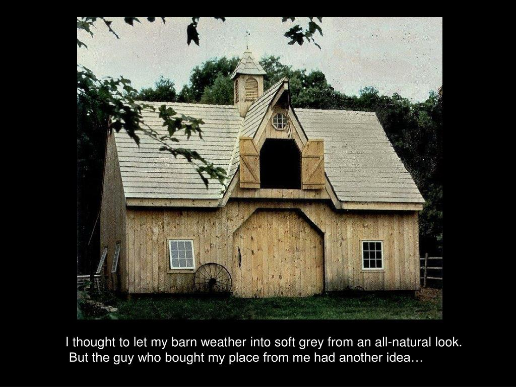 I thought to let my barn weather into soft grey from an all-natural look.
