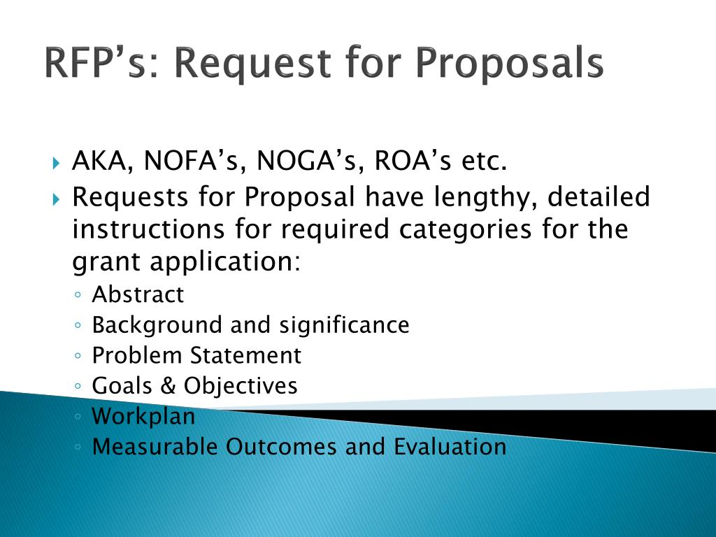 RFP's: Request for Proposals
