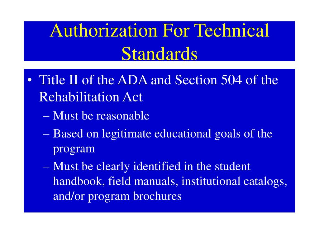 Authorization For Technical Standards