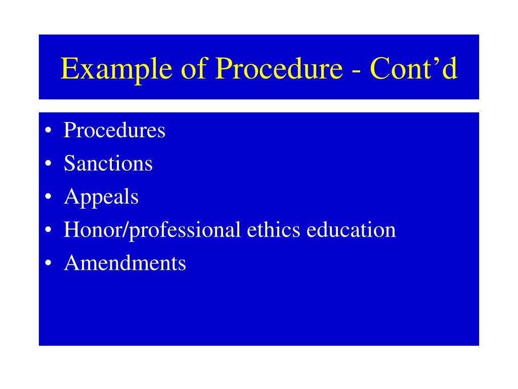 Example of Procedure - Cont'd