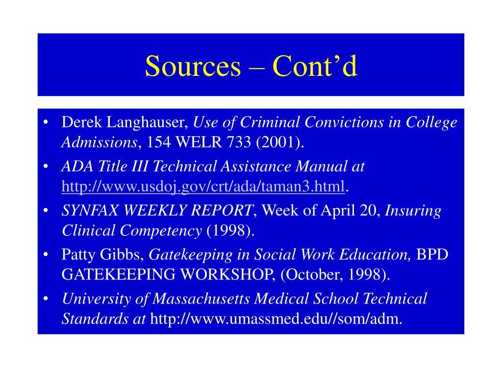 Sources – Cont'd
