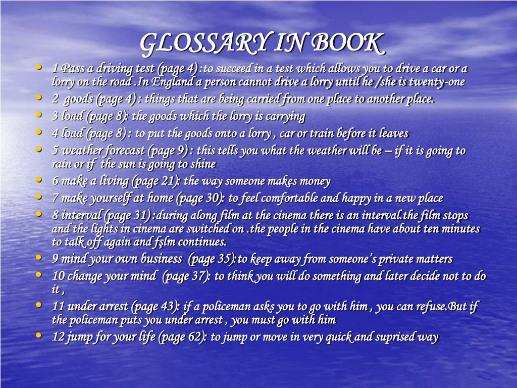 GLOSSARY IN BOOK