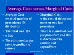average costs versus marginal costs
