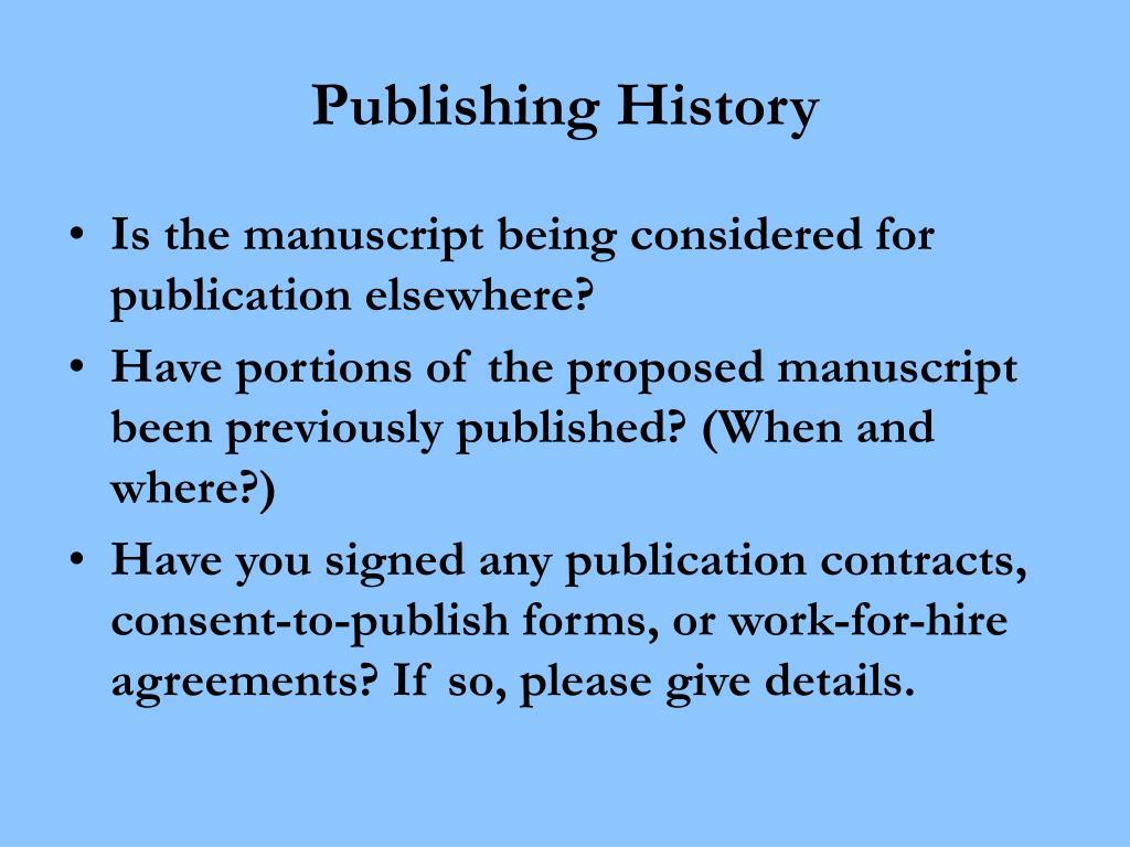 Publishing History
