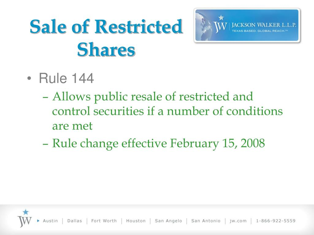 Sale of Restricted Shares