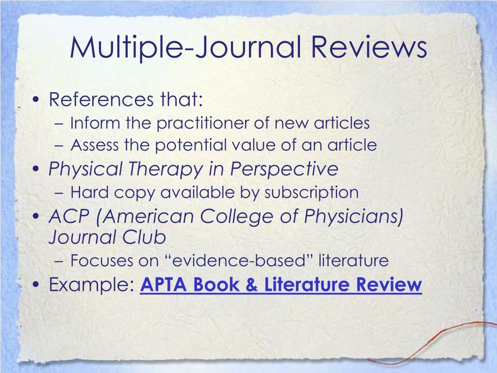 Multiple-Journal Reviews