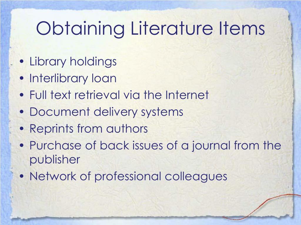 Obtaining Literature Items