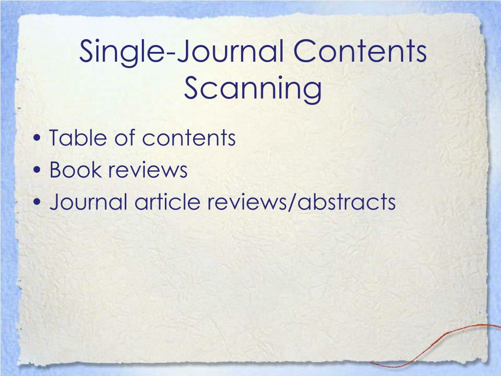 Single-Journal Contents Scanning