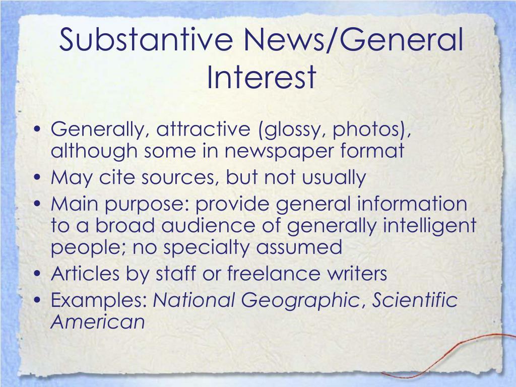 Substantive News/General Interest